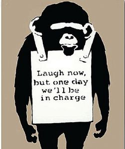 Banksy Monkey Laugh Now, But One Day We'll... drinks mat / coaster   (2f)